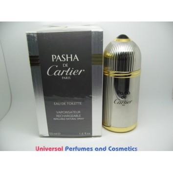 PASHA DE CARTIER EAU DE TOILETTE FOR MEN 1.6 oz / 50ML Limited Edition REFILABLE ORIGINAL FORMULA SILVER CASE ONLY $119.99